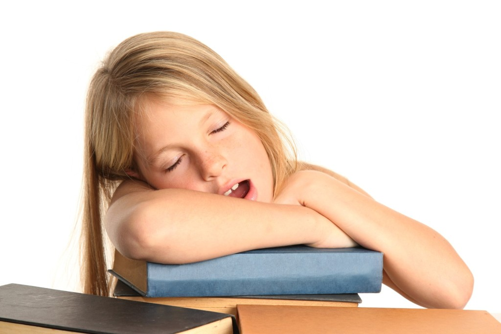 Tired kid lack of sleep insomnia leads to obesity