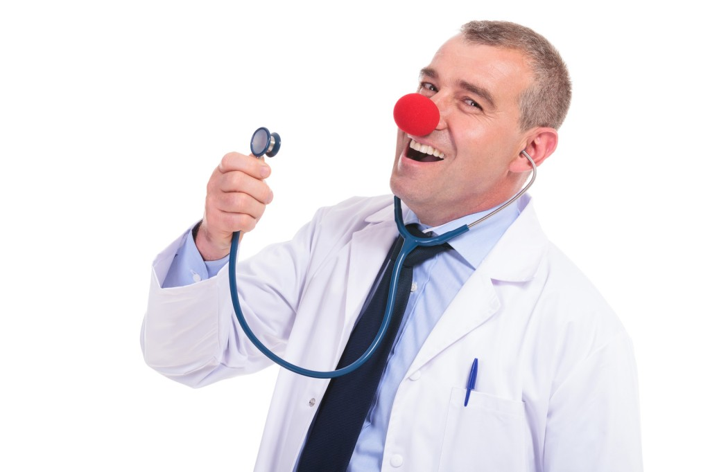 fake doctor singing to his stethoscope