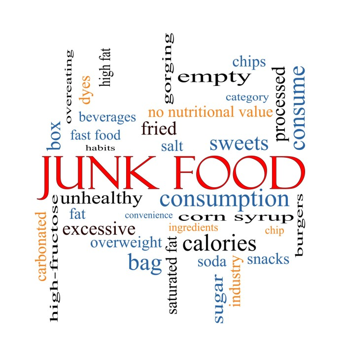 word cloud showing junk food and high fructose corn syrup