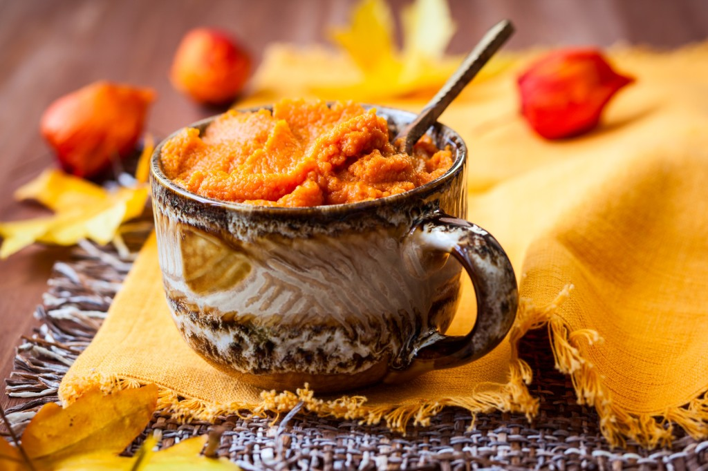 pumpkin hot cereal in a bowl