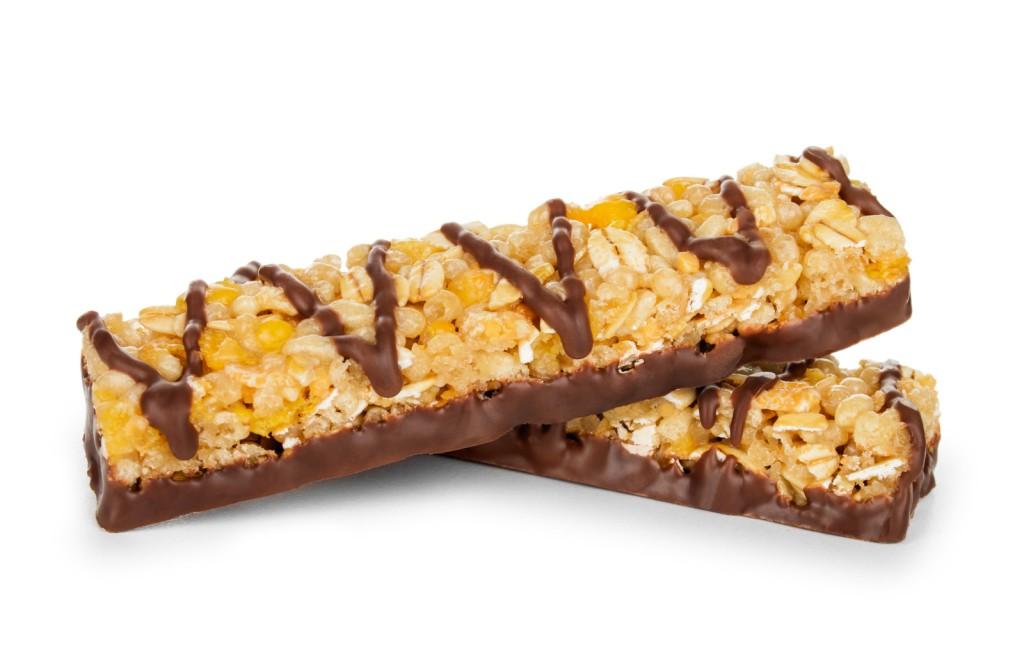 sugary chocolate coated energy bar